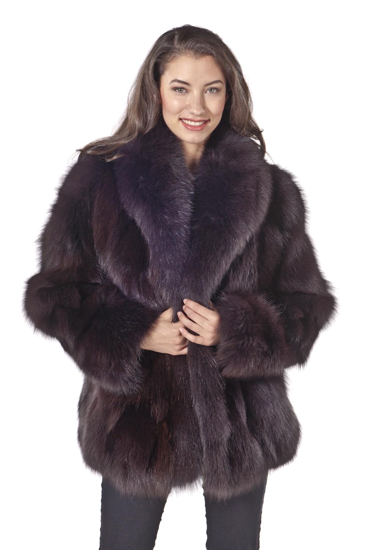 real fox fur jacket-natural brown fox fur-shawl collar