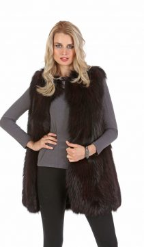 fox fur vest-real fox fur vest for women-Deep burgundy cardigan collar
