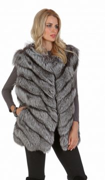 silver fox fur-fox fur vest-fox fur vest long-chevron design