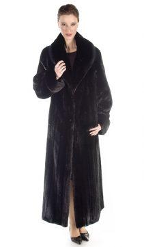 black mink coat for women- female ranch mink-classic shawl