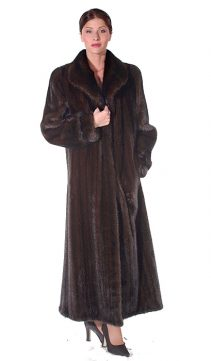 real mink fur coat genuine-classic wing-female mahogany mink coat
