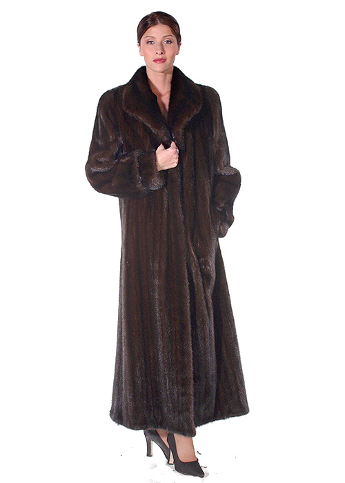 real mink fur coat genuine-classic wing-female mahogany mink coat