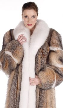 Fox Fur Coats for Women-Crystal-White Fox Trim