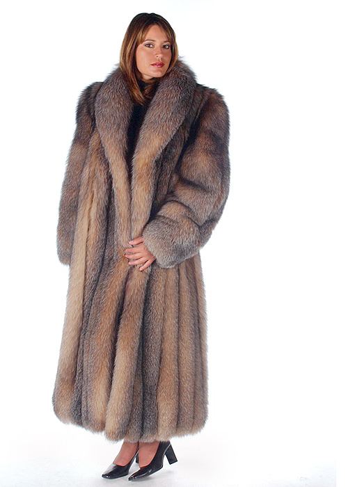 fox fur coat real-natural fox coats-real fox coat-crystal-shawl collar