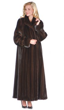 mink fur coat original-deluxe mahogany mink-turn back cuffs