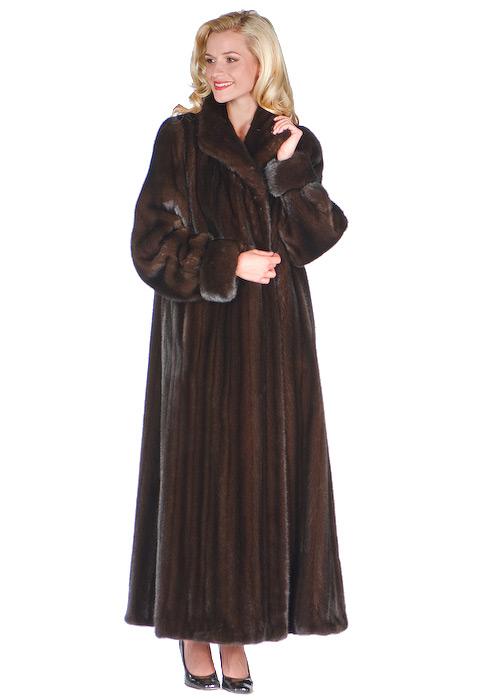 mink fur coat original-deluxe mahogany mink-turn back cuffs