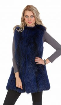fur vest fox-fur vest real royal blue-real fur vest for women