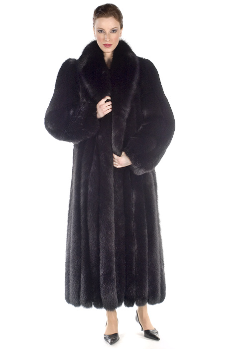 real fur coat black-genuine fox fur coat-long fox fur coat