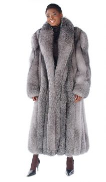 womens real fox fur coat-long fox fur coat-Blue Frost Fox