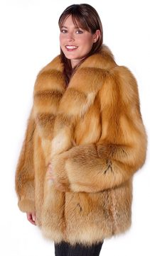 natural fox fur jackets for women-red fox trim-fur jacket