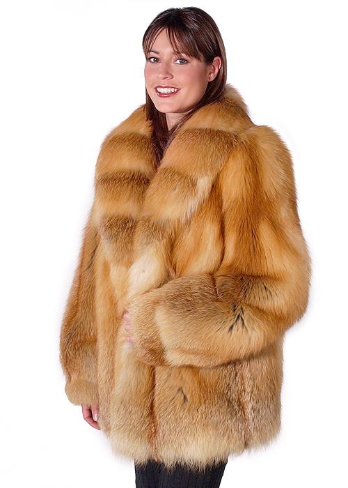 natural fox fur jackets for women-red fox trim-fur jacket