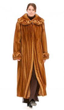 ladies mink coat-golden mink-braided collar & cuff