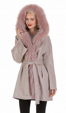 guy laroche cashmere coat and jacket-fox fur hood trim