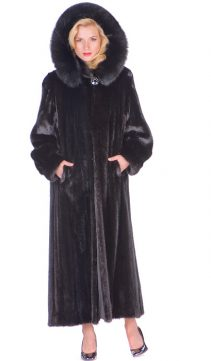 mink coat hooded long-female mink-detachable hood