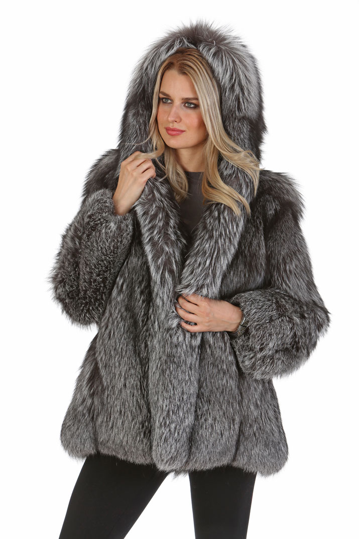 fox fur coat with hood-silver fox jackets-coat with real fur hood