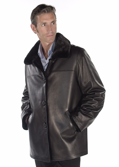 real mink fur filed jacket for men-original leather jacket reversible jacket