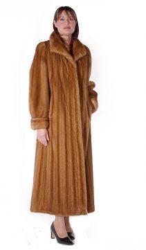 long mink fur coat-female mink coat--golden-classic-mink