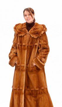 mink fur coat-golden cape collar calloped detail