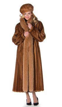 mink fur coat-real mink fur coat with fox trim-golden mink