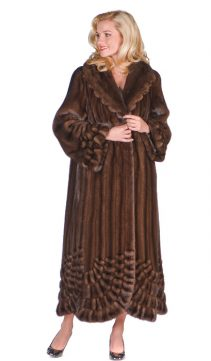 natural real mink coat for women-pleated-panorama-soft-brown-mink
