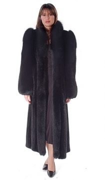 real mink coat-natural mink fur-long-black fox sleeve