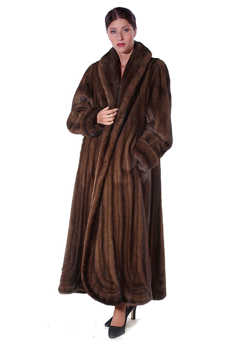 mahogany mink coat for women-swirl-panel-design