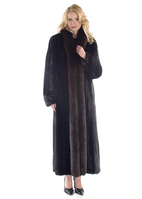 genuine mink fur coat-ranch mink-black fox trim