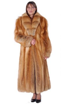 womens fox coat-coat with real fur-natural red fox fur-crosscut shawl collar