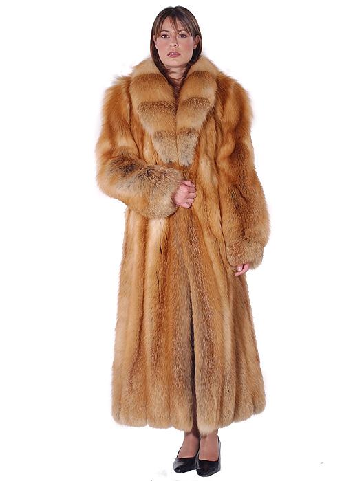 Natural Red Fox Fur Coat – Crosscut Shawl Collar | Madison Avenue ...