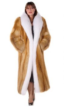 fox fur coat-womens fox coat-coat with real fur-white fox trim