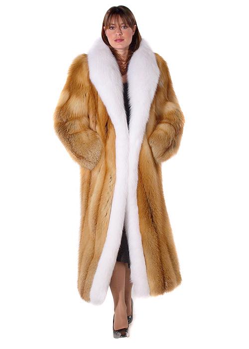 Natural Red Fox Fur Coat – White Fox Trim | Madison Avenue Mall ...