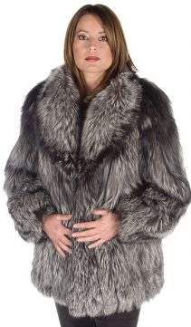 silver fox fur jacket-real fox jacket-fox fur trim-shawl
