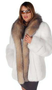 fox fur jackets-white-crystal-fox fur trim-real fox jackets