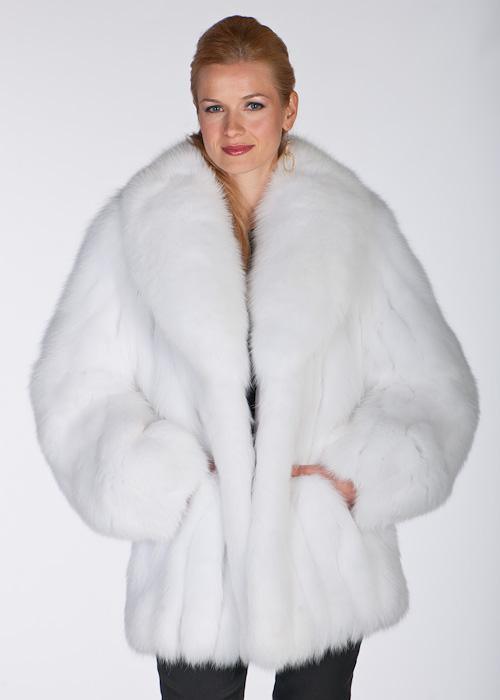 White Fox Fur Jacket Shawl Collar, White Fox Fur Coat Collar