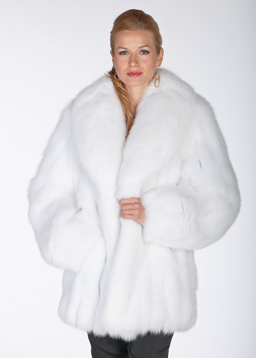 White Fox Fur Jacket Shawl Collar Madison Avenue Mall