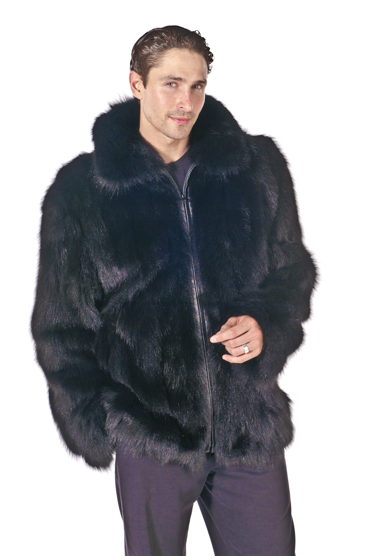 Mens Fox Jacket – Sculptured Black Fox | Madison Avenue Mall Furs ...