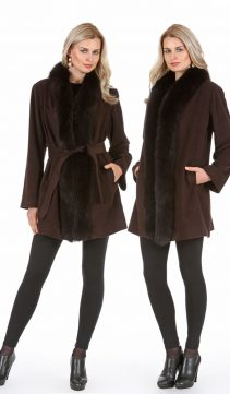 cashmere jacket women-real fur trim parka