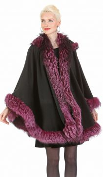 Black Cashmere Cape - Fox Trim