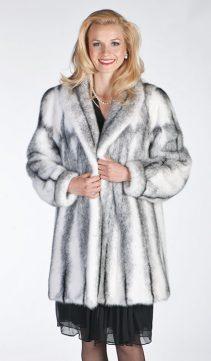 black mink fur genuine jacket women's-curved-wing collar