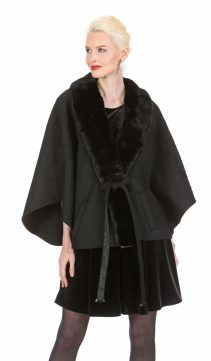 black cashmere coat with fur trim-fox fur coat