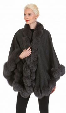 cashmere cape with grey fox trim