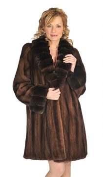 mink real stroller jacket-chinchilla collar cuff-brown mink
