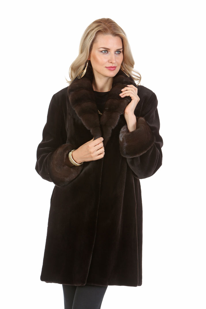 women's natural sheared mink fur jacket-dark brown-crosscut collar