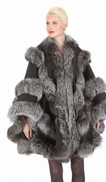 cashmere cape with fox fur trim-silver fox fur coat