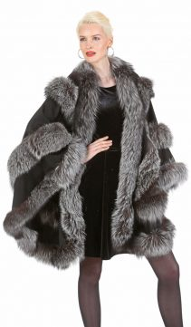 black cashmere cape silver fox fur