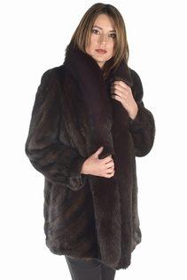 mink jacket with real fox trimmed-mahogany mink-desgin