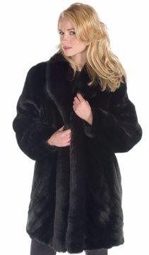 mink fur jacket with fox trim-real mink jacket-ranch mink design