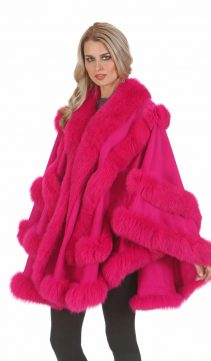 cashmere genuine fox fur trim cape