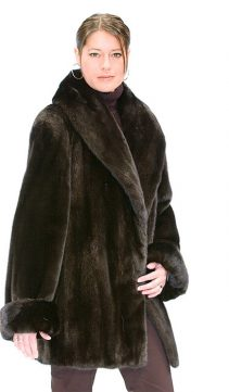 genuine real fur jacket-ranch mink jacket-large shawl fur collar