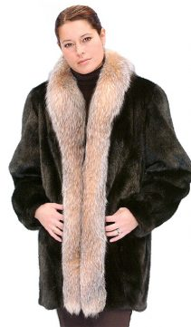 genuine mink real fur jacket-crystal fox fur trim
